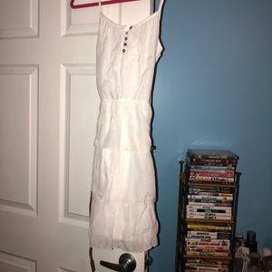 Cute white summer dress with belt around waist